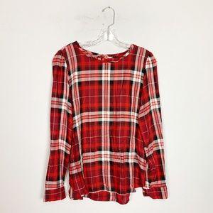 Loft   plaid long sleeve blouse red & white medium